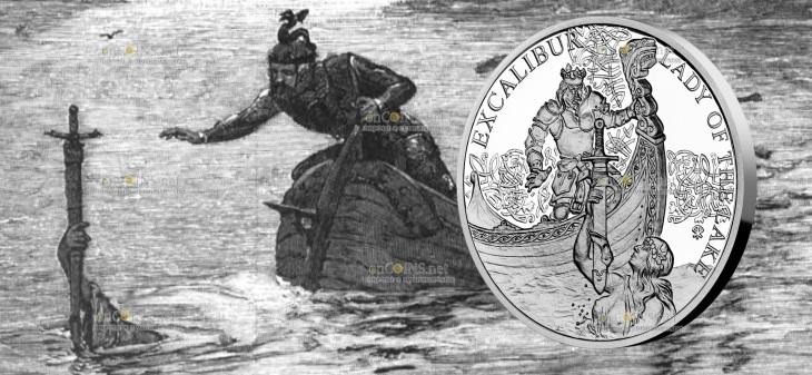 Ниуэ монета 1 доллар Экскалибур и Леди Озера