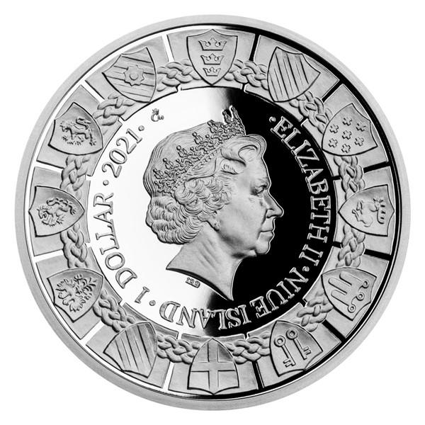Ниуэ монета 1 доллар серии Легенды о короле Артуре, аверс