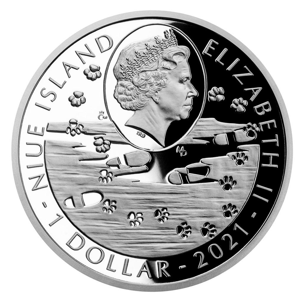 Ниуэ монета 1 доллар серия Порода Собак 2021 год, аверс