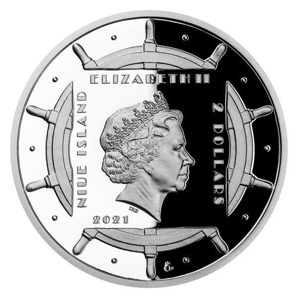 Ниуэ монета 2 доллара Полярники, аверс