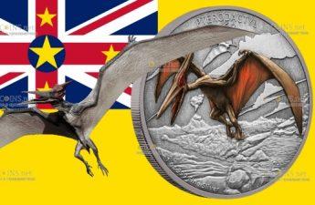 Ниуэ монета 2 доллара Птеродактиль