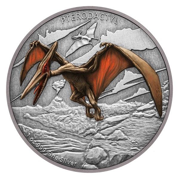 Ниуэ монета 2 доллара Птеродактиль, реверс