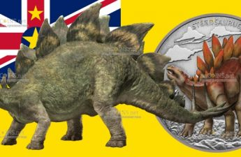 Ниуэ монета 2 доллара Стегозавр