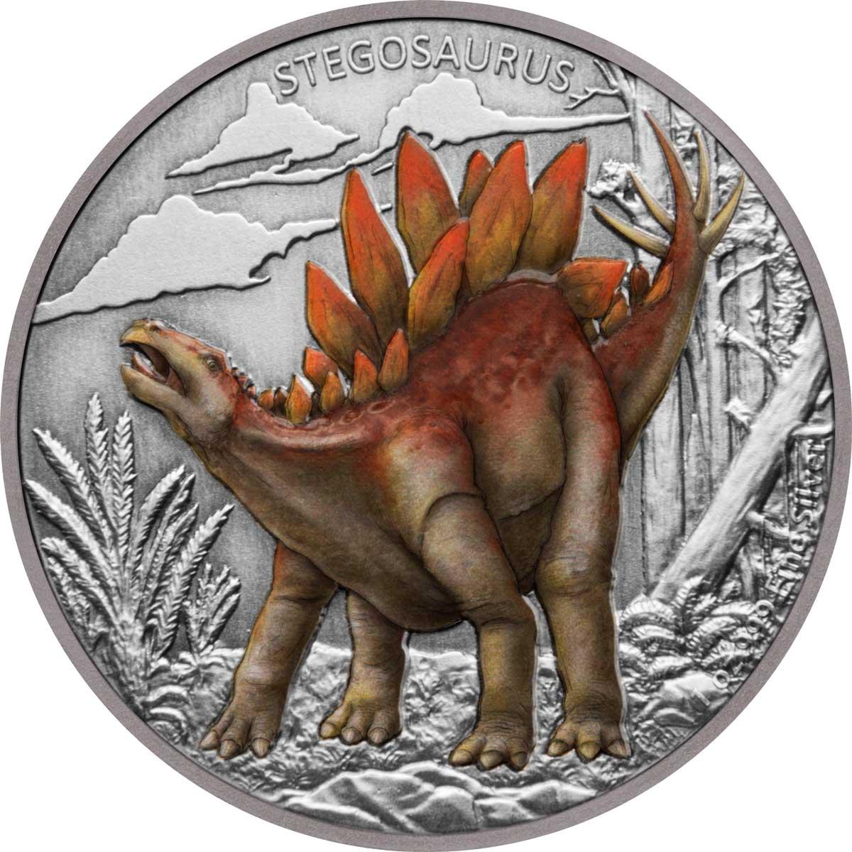 Ниуэ монета 2 доллара Стегозавр, реверс