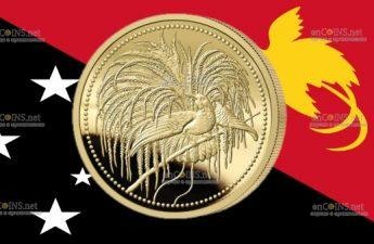 Папуа Новая Гвинея монета 20 кипа Райская Птица