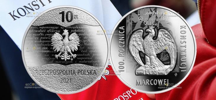 Польша монетау 10 злотых 100 лет Мартовской конституции
