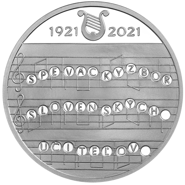 Словакия монета 10 евро 100-летие Словацкого хора учителей, реверс