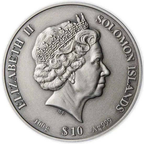 Соломоновы острова монета 10 долларов 2021 год, аверс