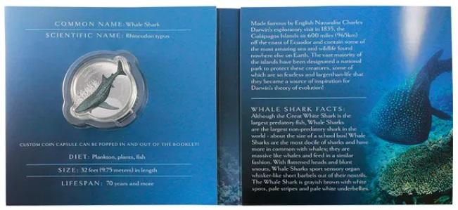 Соломоновы острова монета 2 доллара Китовая Акула, подарочная упаковка