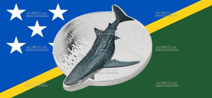 Соломоновы острова монета 2 доллара Китовая Акула