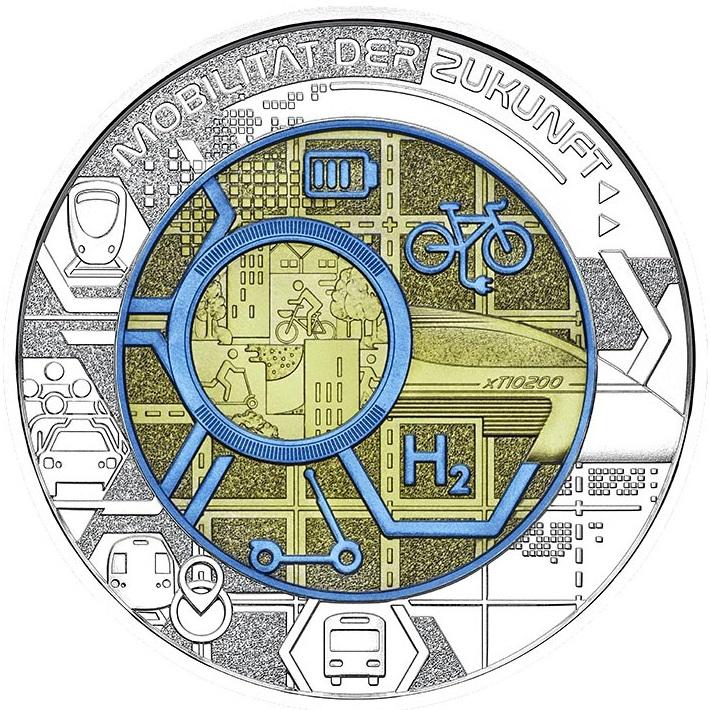 В Австрии монета 25 евро Умная Мобильность, реверс