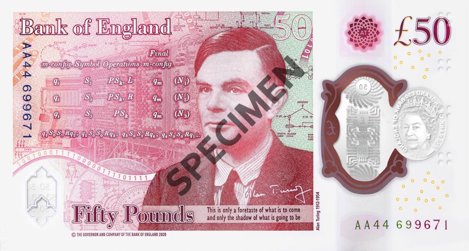 Великобритания банкнота 50 фунтов оборотная сторона 2021 год