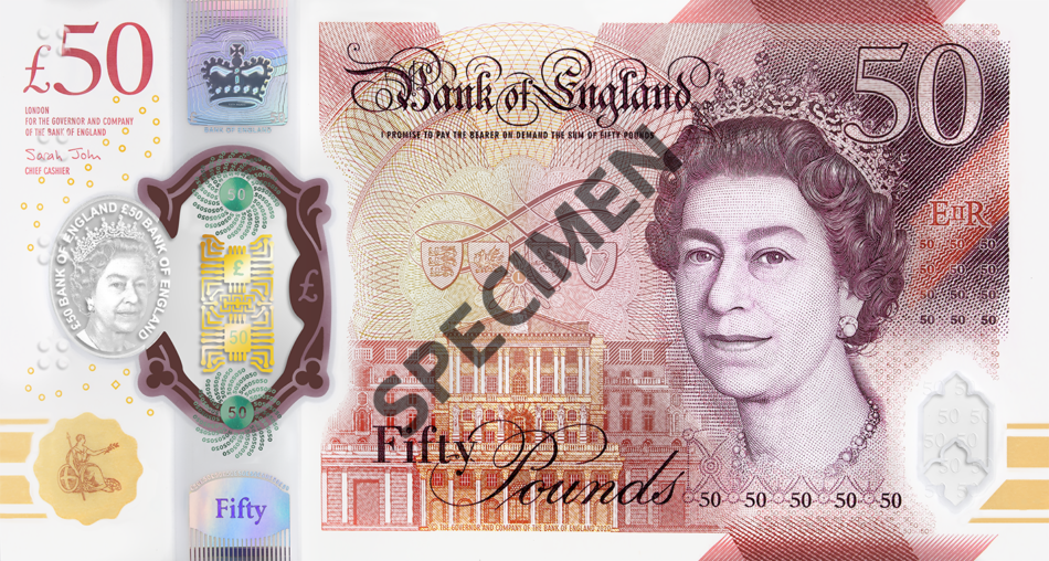 Великобритания банкнота 50 фунтов оборотная строна 2021 год