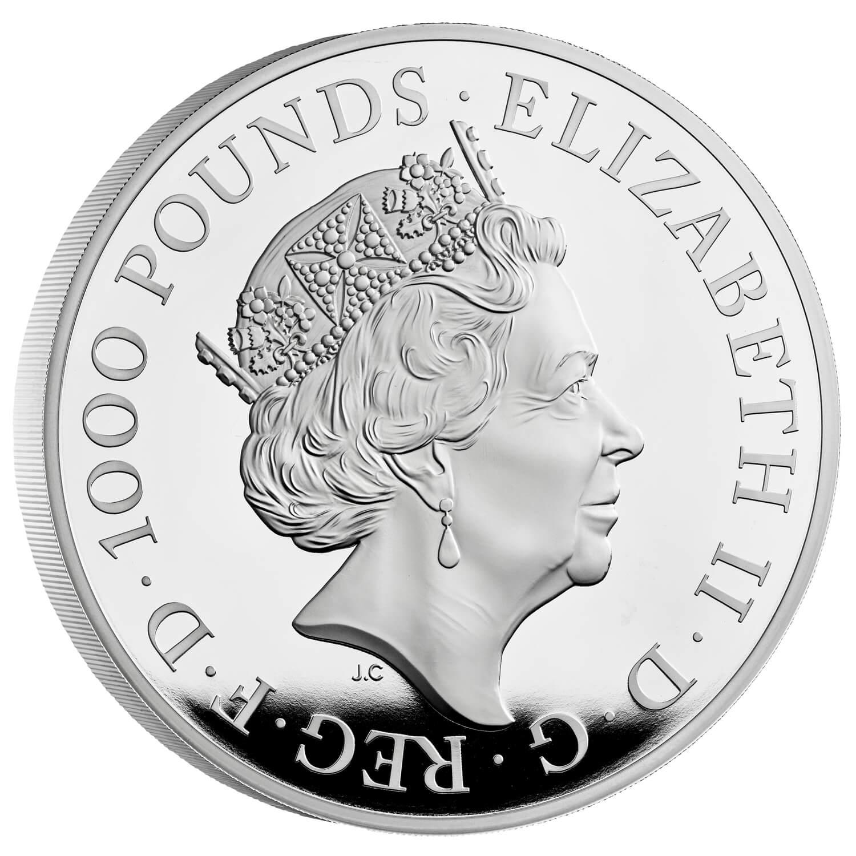 Великобритания монета 1000 фунтов Британия, аверс