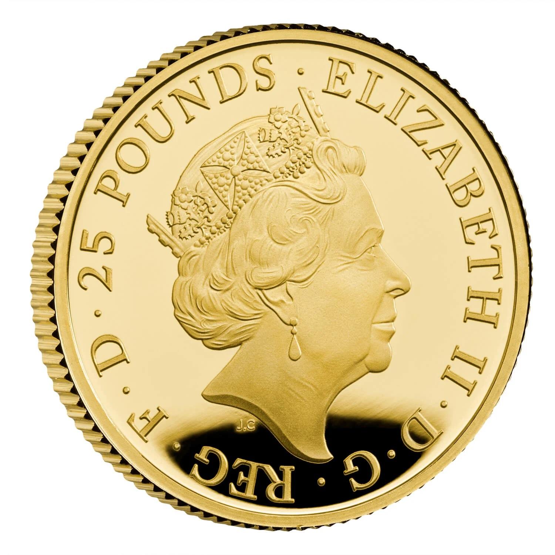 Великобритания монета 25 фунтов 2021 год, аверс