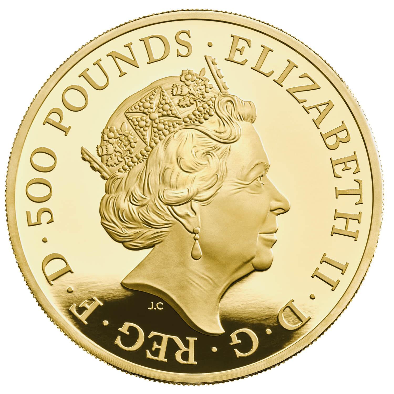 Великобритания монета 500 фунтов 2021 год, аверс