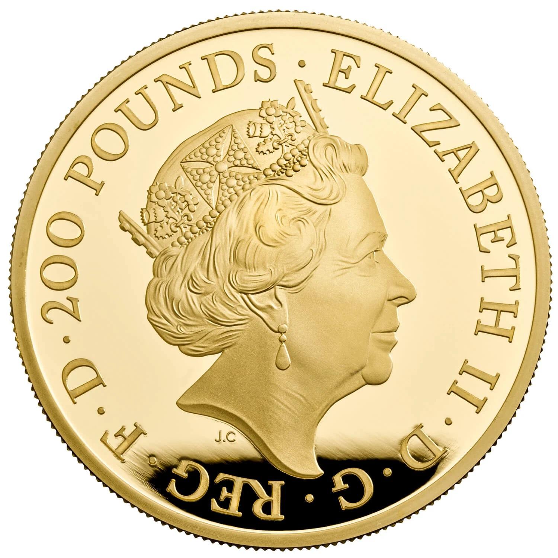 Великобритания монета 200 фунтов 2021 год, аверс