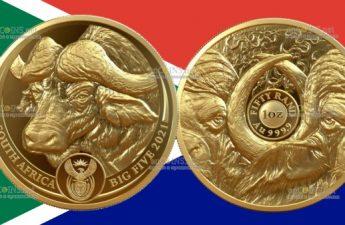 ЮАР золотая монета 5 рэндов Буйвол