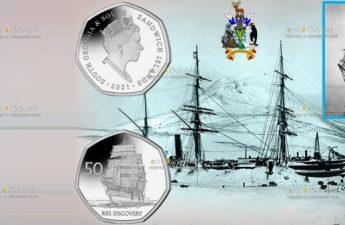 Южная Джорджия и Южные Сандвичевы острова монета 50 пенсов RRS Discovery