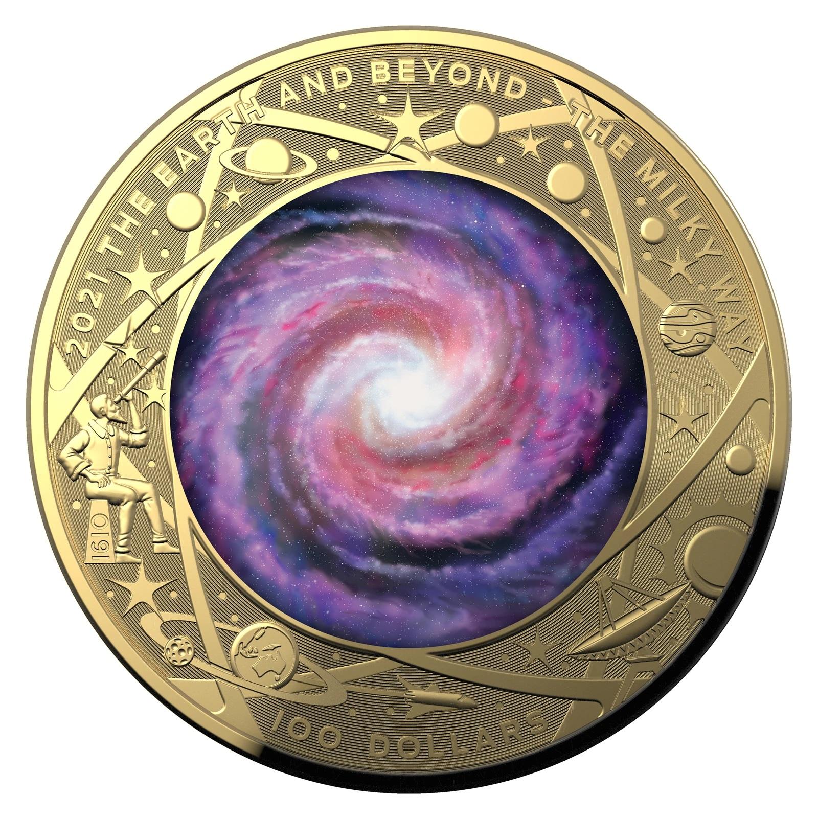 Австралия монета 100 долларов Млечный путь, реверс