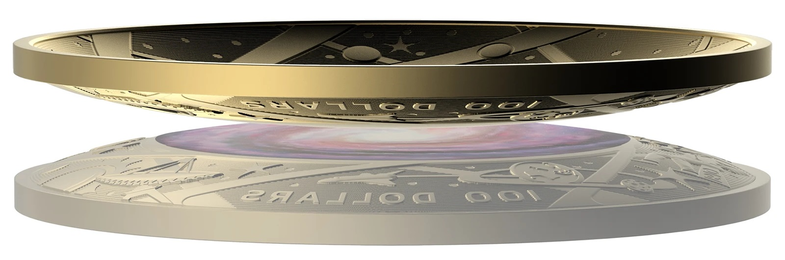 Австралия монета 100 долларов Млечный путь, вид сбоку