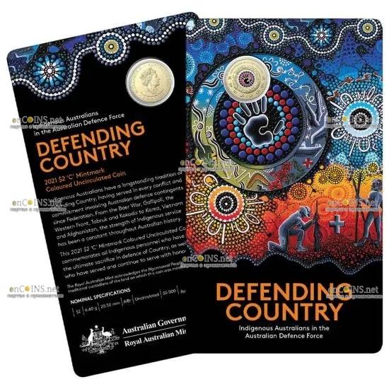 Австралия монета 2 доллара Военная служба коренных народов, подарочная упаковка