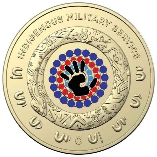 Австралия монета 2 доллара Военная служба коренных народов, реверс
