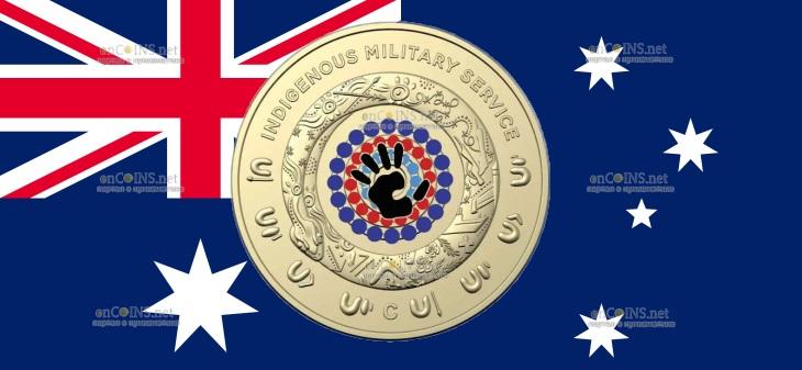 Австралия монета 2 доллара Военная служба коренных народов
