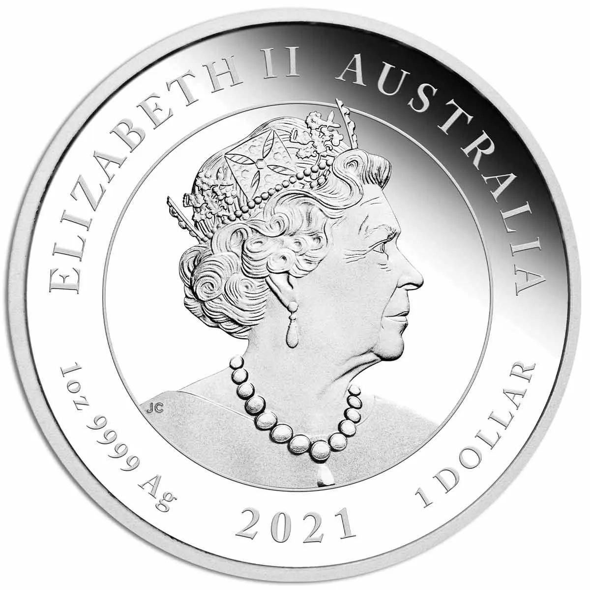 Австралия серебрянная монета 1 доллар 2021 год, аверс