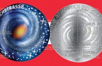 Австрия монета 20 евро Млечный путь