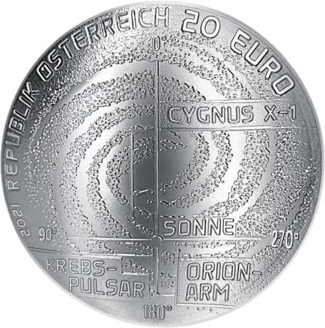 Австрия монета 20 евро Млечный путь, аверс