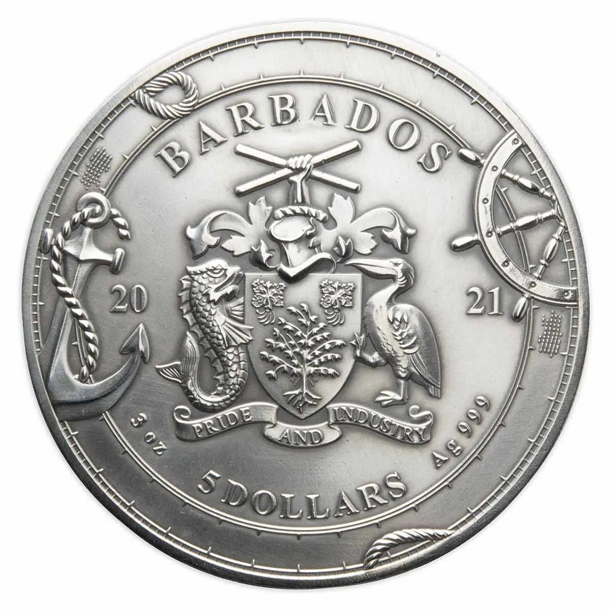 Барбадос монета 5 долларов Фердинанд Магеллан, аверс