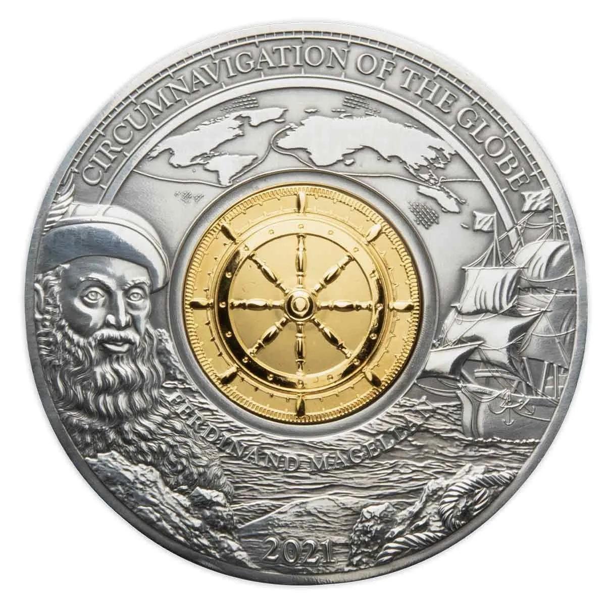 Барбадос монета 5 долларов Фердинанд Магеллан, реверс