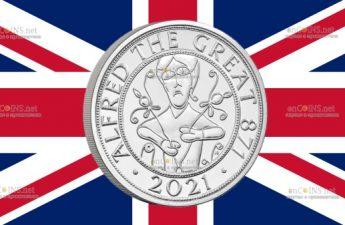 Британия медно-никелевая монета 5 фунтов Альфред Великий
