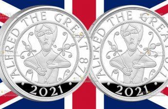 Британия серебряная монета 5 фунтов Альфред Великий