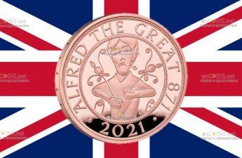 Британия золотая монета 5 фунтов Альфред Великий