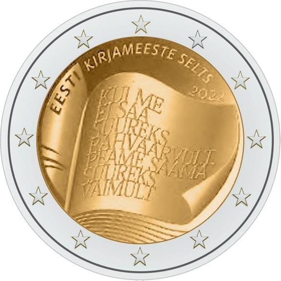 Эстония монета 2 евро 150 лет со дня основания Общества литераторов Эстонии, реверс