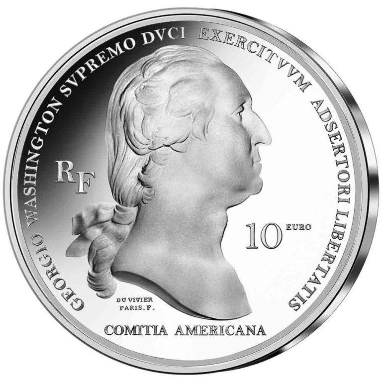 Франция монеты 10 и 25 евро Бостонская осада ВАШИНГТОНА, аверс