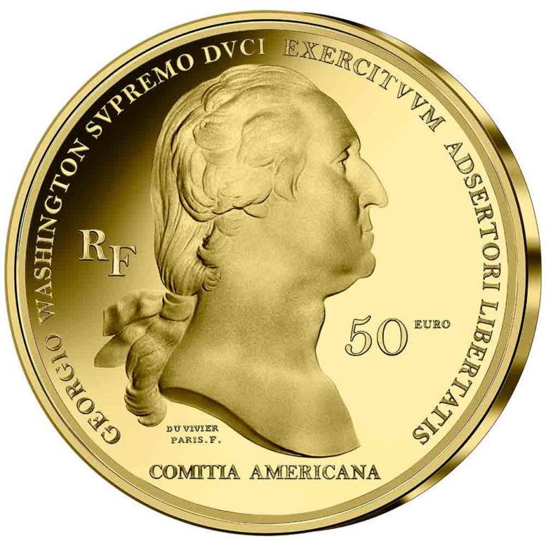 Франция монеты 50 евро Бостонская осада ВАШИНГТОНА, аверс