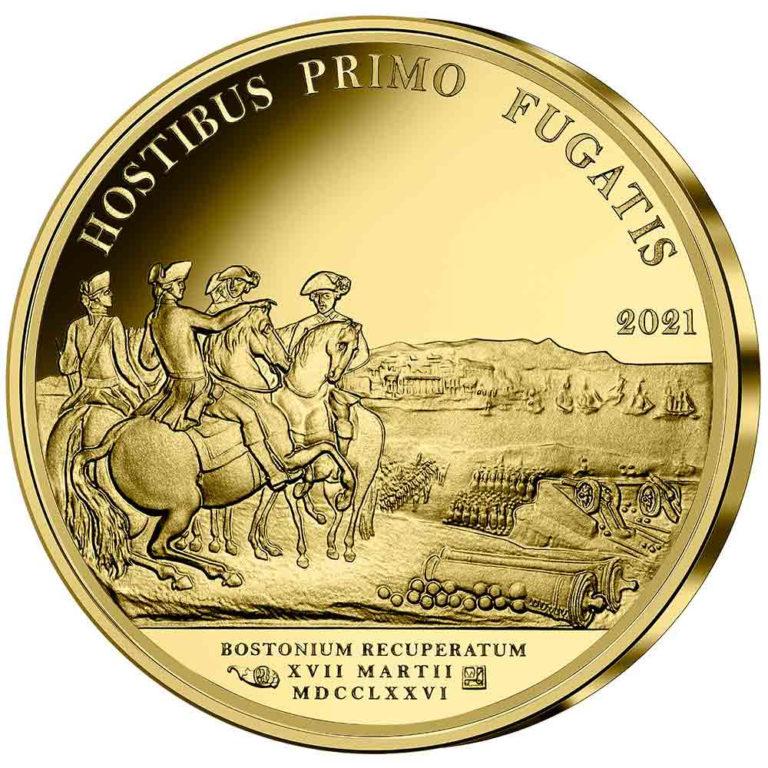 Франция монеты 50 евро Бостонская осада ВАШИНГТОНА, реверс