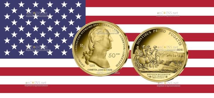 Франция монеты 50 евро Бостонская осада ВАШИНГТОНА