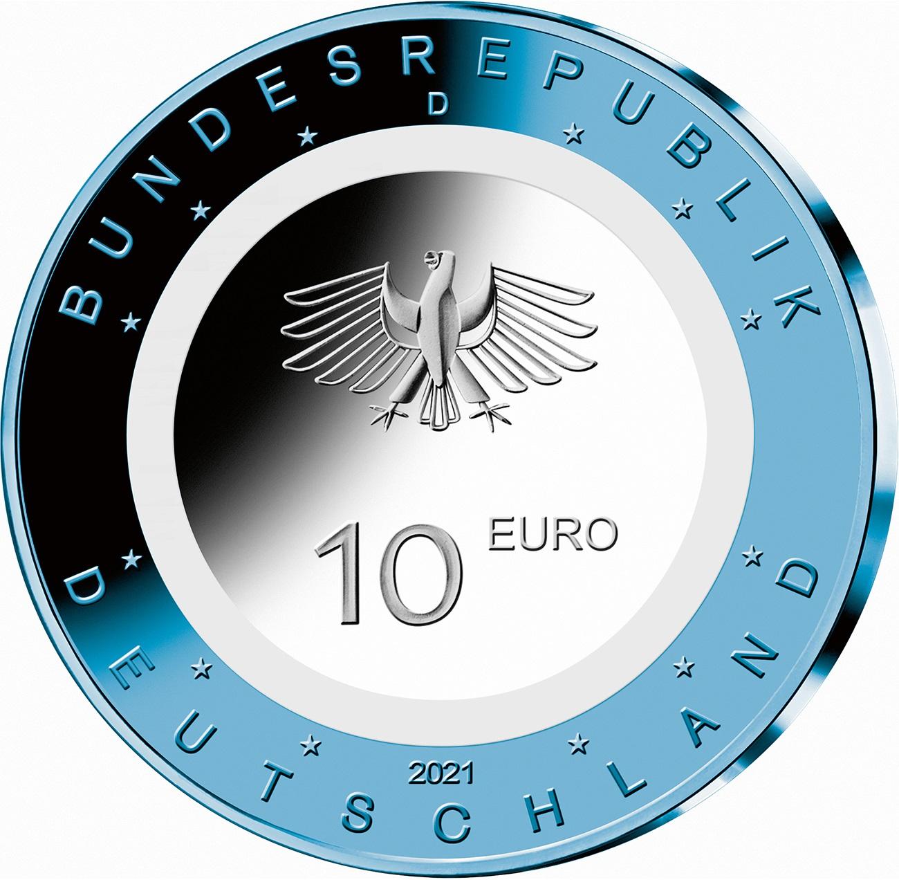 Германия монета 10 евро В Воздухе, аверс