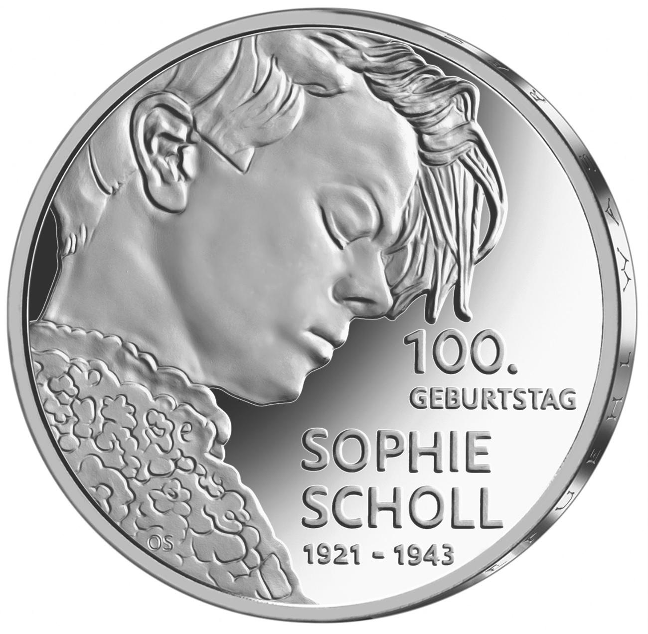 Германия монета 20 евро Софи Шолль, реверс