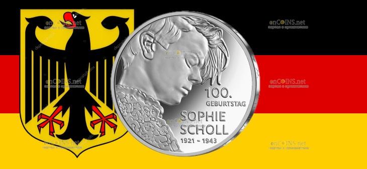 Германия монета 20 евро Софи Шолль