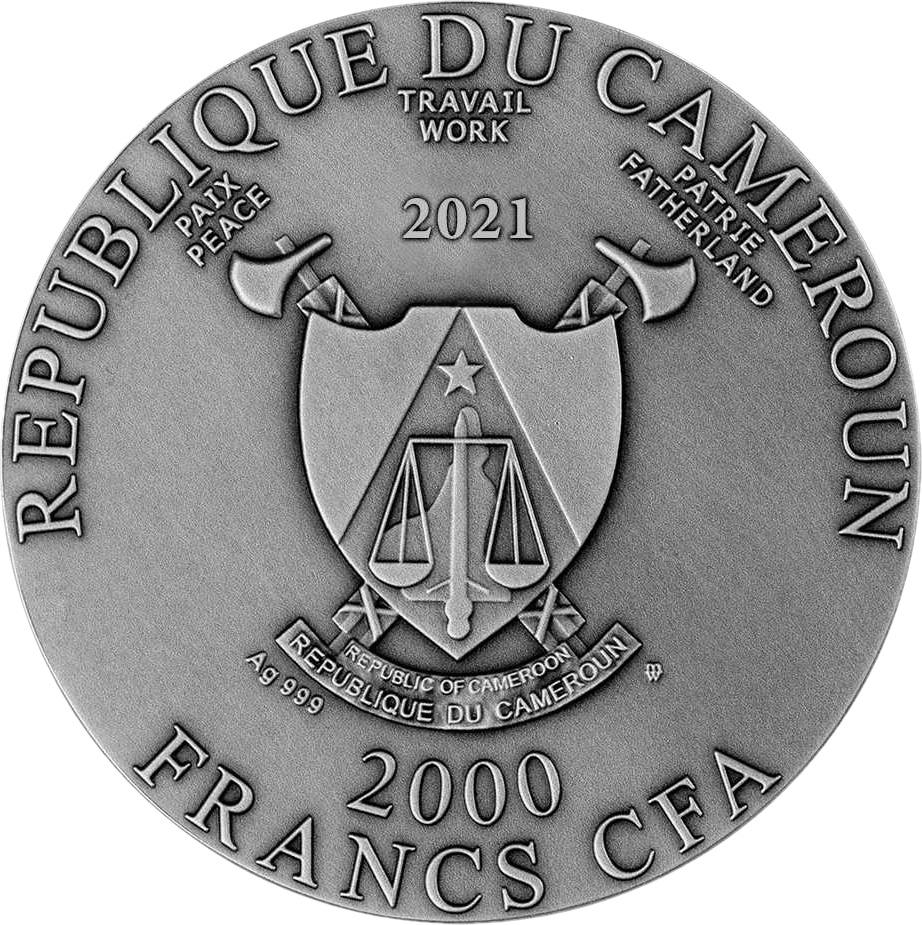 Камерун монета 2000 франков КФА, 2021 год, аверс
