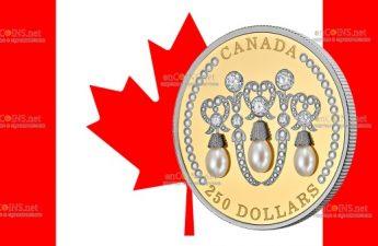 Канада монета 250 долларов Тиара Елизаветы II