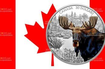 Канада монета 30 долларов Лось