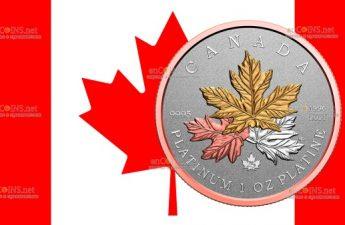 Канада монета 300 долларов Дань клену