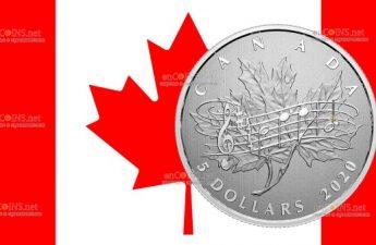 Канада монета 5 долларов 40 лет со дня принятия Закона О национальном гимне