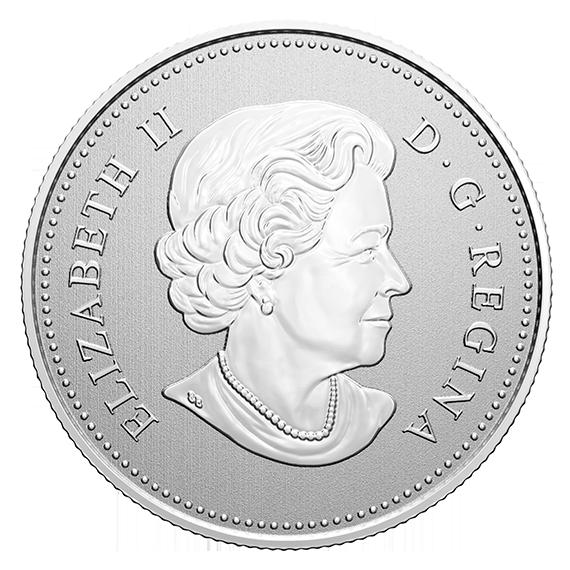Канада монета 5 долларов 40 лет со дня принятия Закона О национальном гимне, аверс